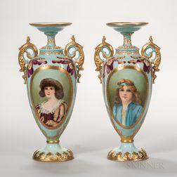Pair of Ceramic Art Co. Belleek Porcelain Portrait Vases