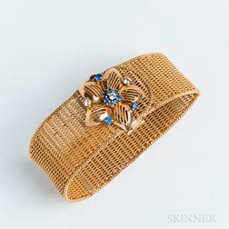 Victorian Revival 18kt Gold, Diamond, and Sapphire Mesh Bracelet