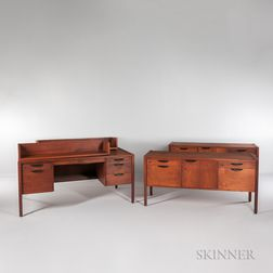 Jens Risom Design Desk, Two Credenzas, and Two Shelves