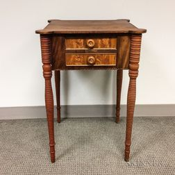 Late Federal Mahogany Veneer Two-drawer Worktable