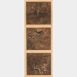 Three Album Paintings Depicting Mythological Stories