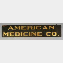 """Painted and Gilded Wood """"American Medical Co."""" Trade Sign"""