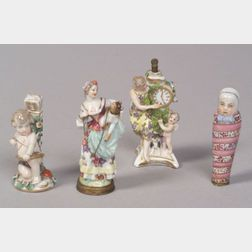 Four Small German Porcelain Figural Perfumes