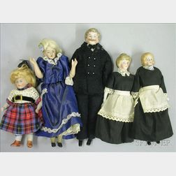 Dollhouse Bisque Head Father, Mother, Girl, and Two Maids