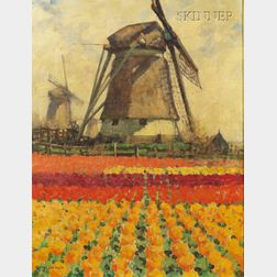 George Hitchcock (American, 1850-1913)      Tulip Fields with Windmill