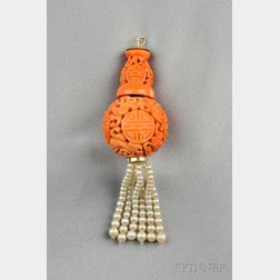 Carved Chinese Coral and Cultured Pearl Tassel Pendant