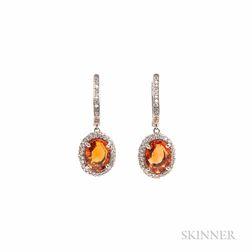 18kt White Gold, Orange Sapphire, and Diamond Earrings