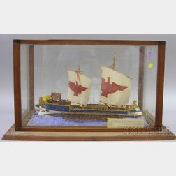 Cased Painted Carved Wood Imperial Roman Navy Light Trireme Ship Model