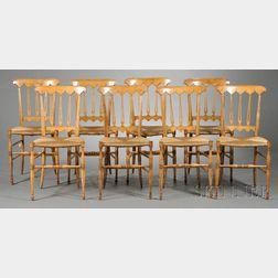 Eight Biedermeier Fruitwood Rush Seat Side Chairs
