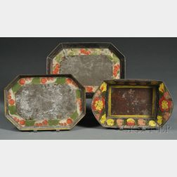 Paint-decorated Tinware Bread Basket and Two Trays