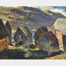 Andrew George Winter (American, 1893-1958)      Houses Monhegan