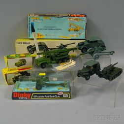 Five Meccano Dinky Toys Die-cast Metal Military Vehicles