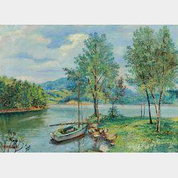 David Davidovich Burliuk (Russian/American, 1882-1967)      Lake Scene with Boat, Probably a Connecticut View