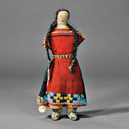 Blackfoot Beaded Cloth and Hide Female Doll