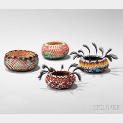 Four Pomo Beaded Baskets