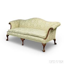 Chippendale-style Carved and Upholstered Mahogany Camel-back Sofa