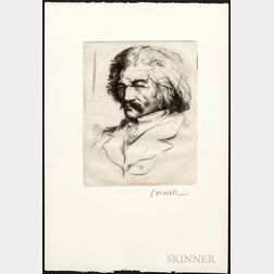 Thomas Brown Cornell (American, 1937-2012)   Drypoint Etching of Frederick Douglass