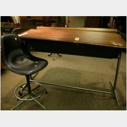 Modern Mahogany Roll-top Aluminum Desk and Eames Desk Chair.