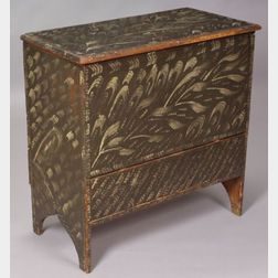 Diminutive Paint Decorated Pine Chest over Drawer