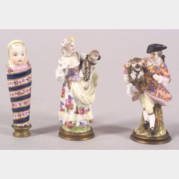 Three Small German Porcelain Figural Perfumes