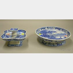 Two Pieces of English Blue and White Transfer Decorated Staffordshire Tableware