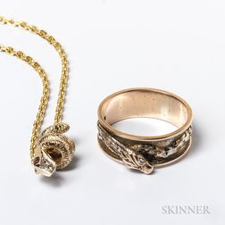 22kt Gold Chain, an Antique 14kt Gold and Diamond Snake Slide, and a 14kt Gold and Diamond Snake Ring