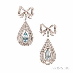 Platinum, Aquamarine, and Diamond Earrings