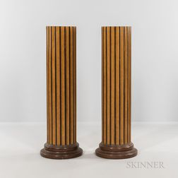 Pair of Maple-veneered Fluted Pedestals