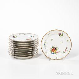Ten Chamberlain's Worcester Porcelain Plates