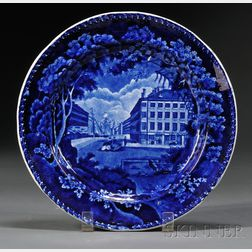 Historical Blue Transferware Plate with Boston China and Glass Warehouse