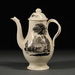 Staffordshire Cream-colored Earthenware Coffeepot and Cover