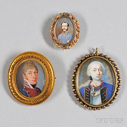 American or English School, 18th/19th Century      Three Portrait Miniatures of Military Officers.