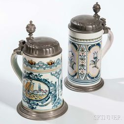 Two Delft-style Steins