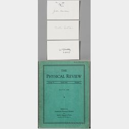 Transistors, Nobel Prize: The Physical Review, Volume 74, Second Series, Number 2, with Signatures of Walter Brattain (1902-1987), Will