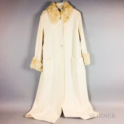 Fendi White Wool Coat with Ermine Collar and Cuffs