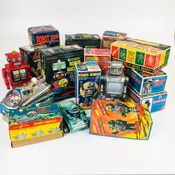 Sixteen Battery-operated Tin and Plastic Robot Toys