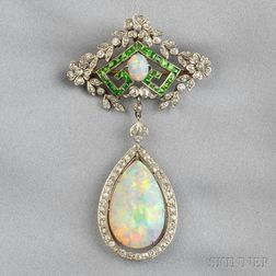 Edwardian Opal, Demantoid Garnet, and Diamond Pendant/Brooch