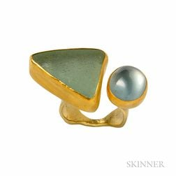 18kt and High Karat Gold, Sea Glass and Tourmaline Ring, Betsy Fuller