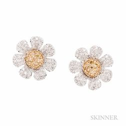 18kt Bicolor Gold, Colored Diamond, and Diamond Daisy Earrings