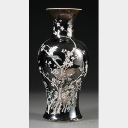 Large Famille Noire Baluster Vase