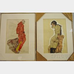 After Egon Schiele (Austrian, 1890-1918)      Two Reproductions After Watercolors: Woman with Homunculus