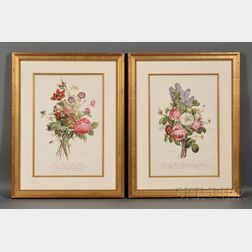 Two Collotypes of Floral Bouquets