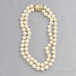 Double-strand Semi-baroque Cultured Pearl Necklace