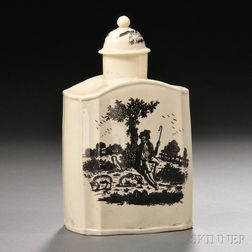 Staffordshire Cream-colored Earthenware Tea Canister and Cover