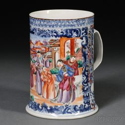 Large Chinese Export Rose Mandarin Porcelain Mug