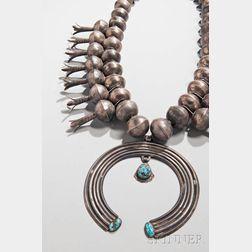 Massive Navajo Silver and Turquoise Squash Blossom Necklace