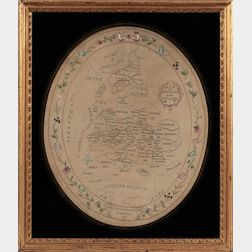 Small Schoolgirl Silk Needlework Map of England
