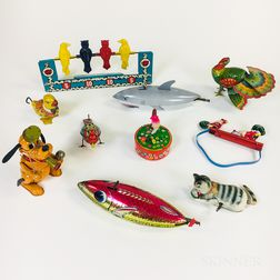 Ten Tin Litho Wind-up Toys