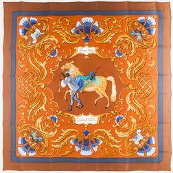 """Framed Hermes """"Cheval Turc."""" Brown Silk Scarf"""
