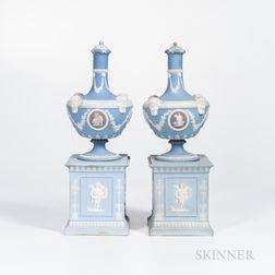Pair of Wedgwood Tricolor Jasper Barber Bottles on Plinths